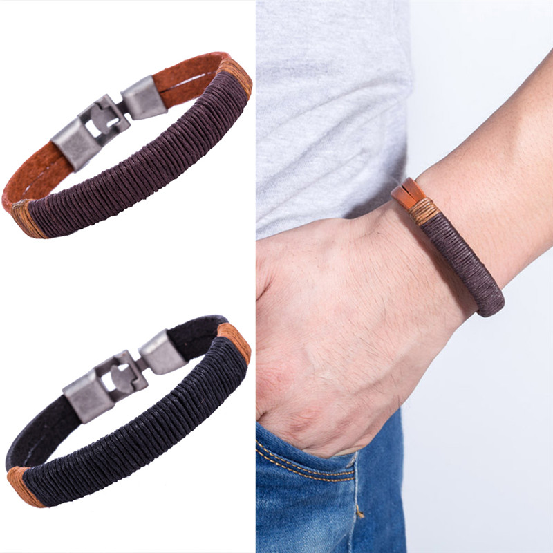 1 PC Mens Vintage Hemp Wrap Leather Wristband Bracelet New Surfer Cuff Black Brown Color