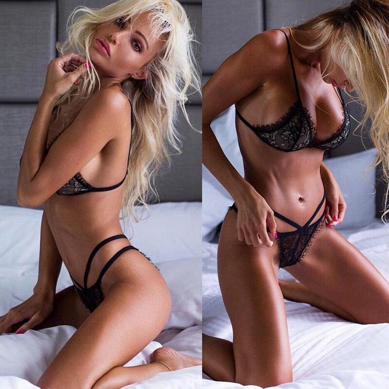 Hot Sexy Underwear   Bra     Sets   Push-up   Bra   and Panty   Sets   B C D E Cup Black Lace Lingerie   Set   Women Deep V Brassiere