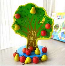 Wooden fruit tree magnetic calculation mathematics teaching AIDS educational math wooden toys baby kids learning brinquedos