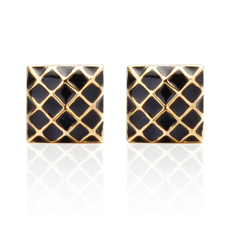 Fashion brand mens shirts Cufflinks Cuff laser metal black enamel Square Gold Cufflinks wholesale and retail