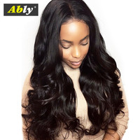 Lace Front Human Hair Wigs Pre Plucked Bleached Knots Ably Raw Indian Remy Hair 150% Density Glueless Body Wave Human Hair Wigs