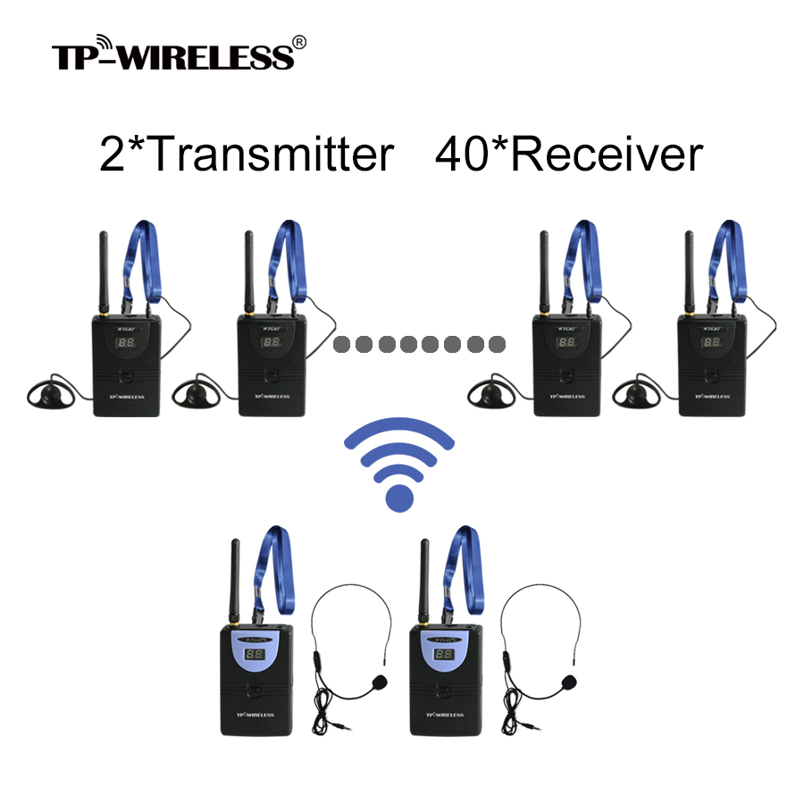 TP-Wireless Tour Guide System for Tour Guiding Teaching Church Translation 2 Transmitter 40 Receivers + Microphone + earphone 2 receivers 60 buzzers wireless restaurant buzzer caller table call calling button waiter pager system