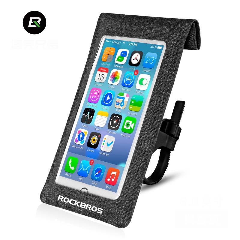 "Rockbros Bike Bag Bicycle Handlebar Bag <font><b>Accessories</b></font> 6.0"" Full Waterproof Outdoor Mobile Phone Case Touch Screen Cycling Bag 2017"