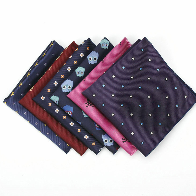 KR1328 New Men's Polyester Silk Handkerchiefs Pocket Squares Mixed Patterns Jacquard For Suits Jackets Wedding Party Business