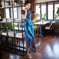 High Quality Blue Traditional Chinese Women Long Cheongsam Silk Satin Qipao Dress Vestido Clothing Size S M L XL XXL XXXL