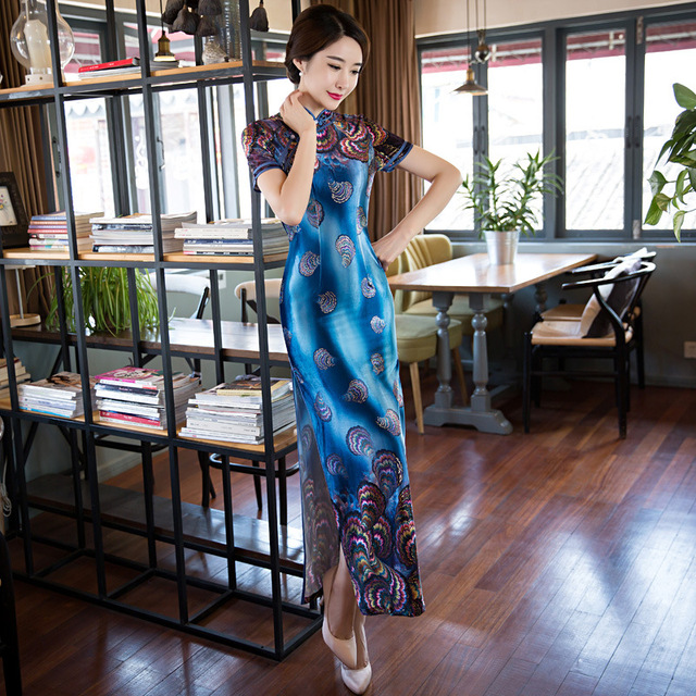High Quality Blue Traditional Chinese Women Long Cheongsam Silk Satin Qipao  Dress Vestido Clothing Size S M L 125296845832