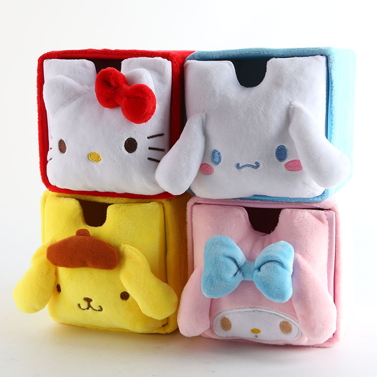 Cartoon Hello Kitty My Melody Cinnamoroll Pompompurin Cosmetic Bags Box Accessories Box Storage Makeup Box Bag