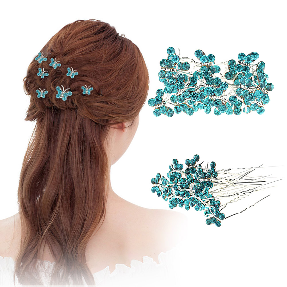 цена на 20pcs/lot Rhinestone butterfly Hair Clips Women Hairpins Wedding Bridal Hair Jewelry Bride Headdress Wedding Party Accessories