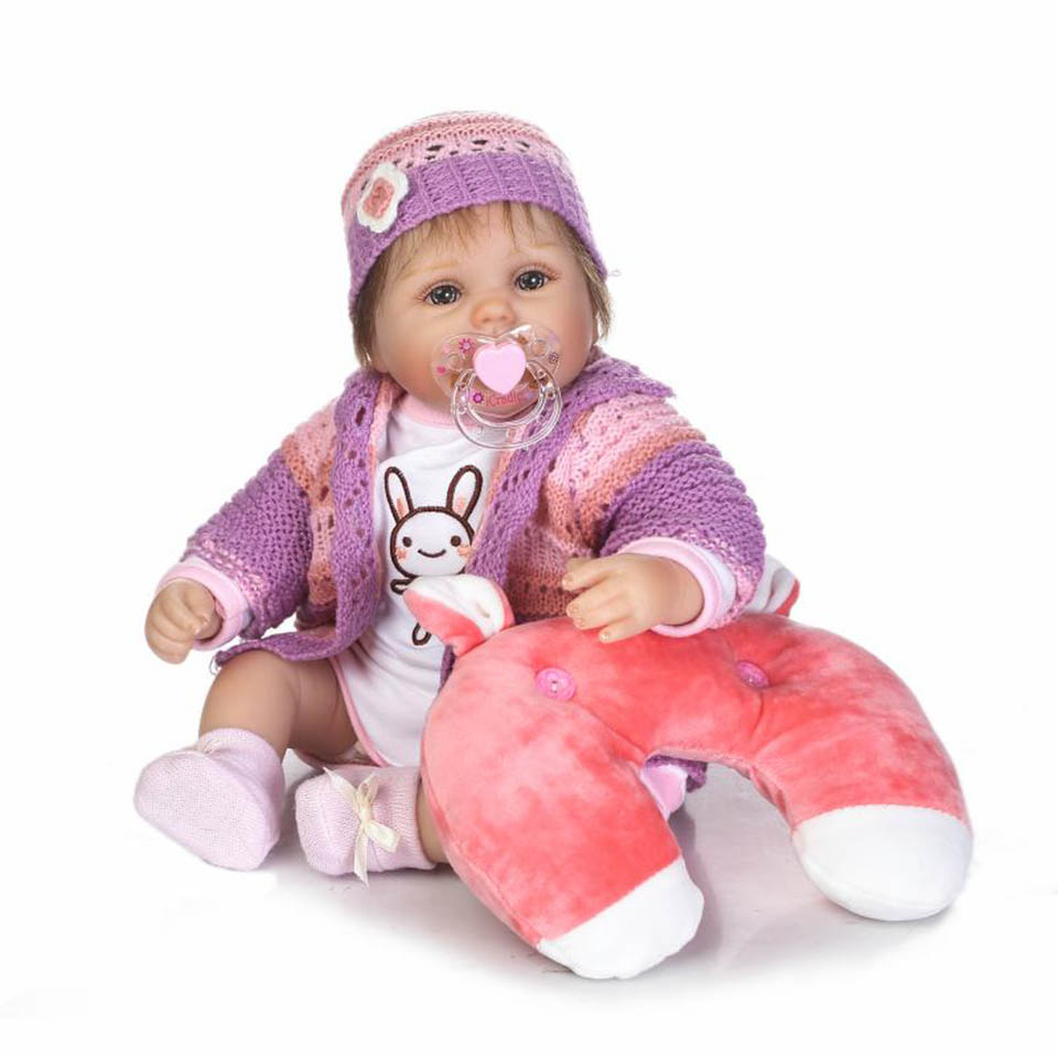 Handmade Real Soft Silicone Reborn Babies Doll Toys For Girl With Pillow 16'' Lifelike Baby Dolls Fashion DIY Brinqendos handmade chinese ancient doll tang beauty princess pingyang 1 6 bjd dolls 12 jointed doll toy for girl christmas gift brinquedo