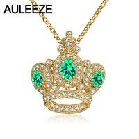 Благородный Корона Стиль Цепочки и ожерелья подвеска овальной Форма природный изумруд кулон 14 К желтое золото природных настоящий бриллиа