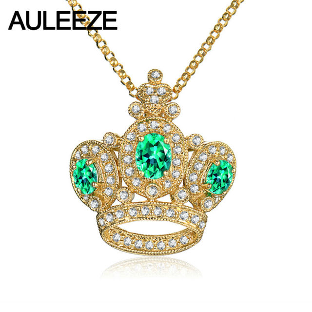 Noble crown style necklace pendant oval shape natural emerald noble crown style necklace pendant oval shape natural emerald pendant 14k yellow gold natural real diamond mozeypictures Gallery