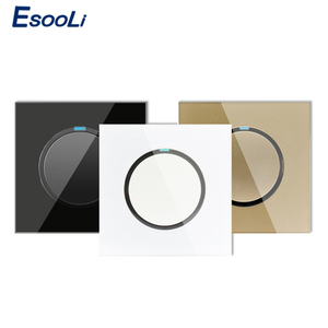 Esooli 2019 New Arrival 3 colors 1 Gang 1 Way Random Click On / Off Wall Light Switch With LED Indicator Crystal Glass Panel