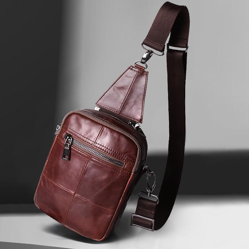 Cobbler Legend Fashion Brand 2018 Nya Mäns Vintage Äkta Läder Messenger Bag Män Man Cowhide Crossbody Väskor för män