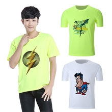 Superman The Flash Hot Summer Art Printed Cool Graphics Round Neck Short Sleeve T-Shirt Blended Sweat Absorbing Fitness Shirt
