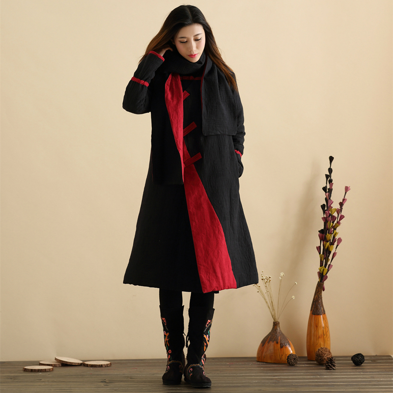 Sonbahar Wadded Uzun Ceket Çin Tarzı Uzun Ceket Kadın Ceket Kış - Bayan Giyimi - Fotoğraf 2