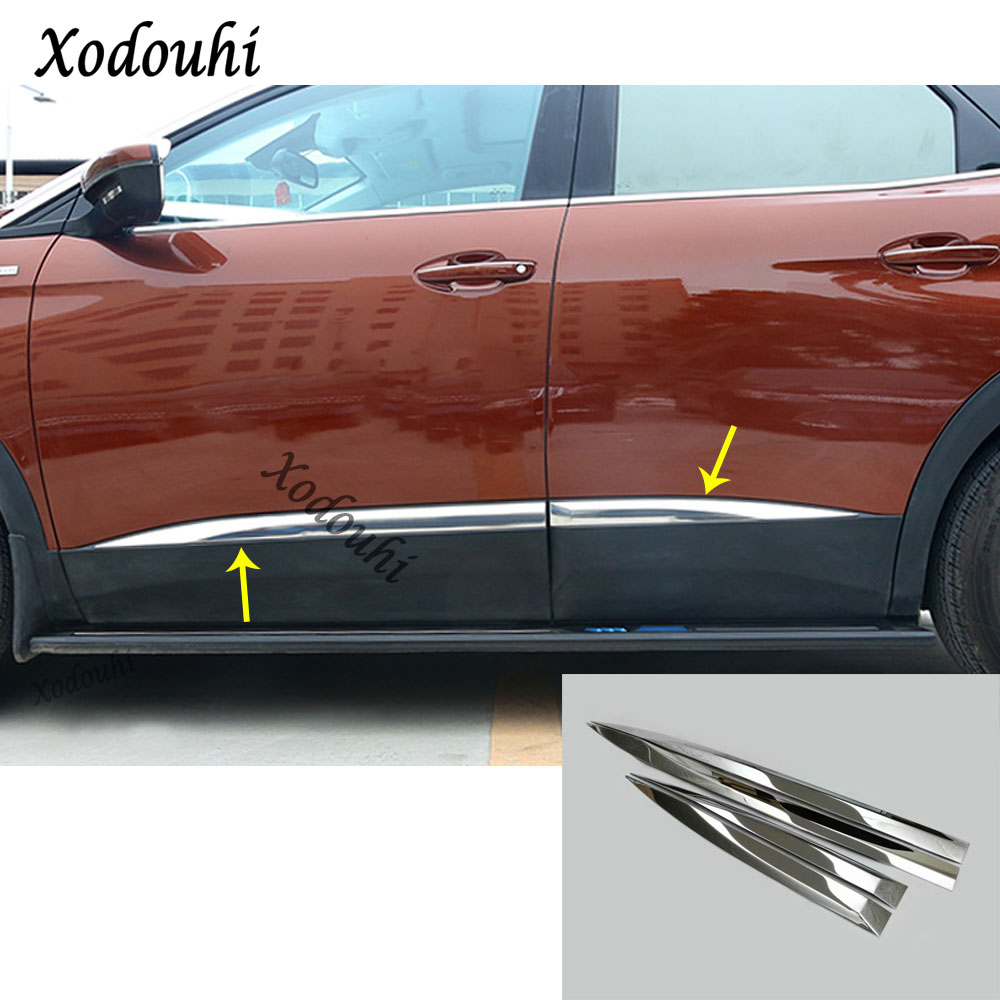 For Peugeot 3008/4008 2016 2017 2018 car body bumper cover detector stainless steel Side Door trim stick Strip Molding 4pcs