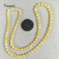 Yoowei 49 см 6 мм натуральный янтарь Цепочки и ожерелья оригинальные камни Бусины Для женщин Юбилей подарок из натуральной Балтийского янтаря в...