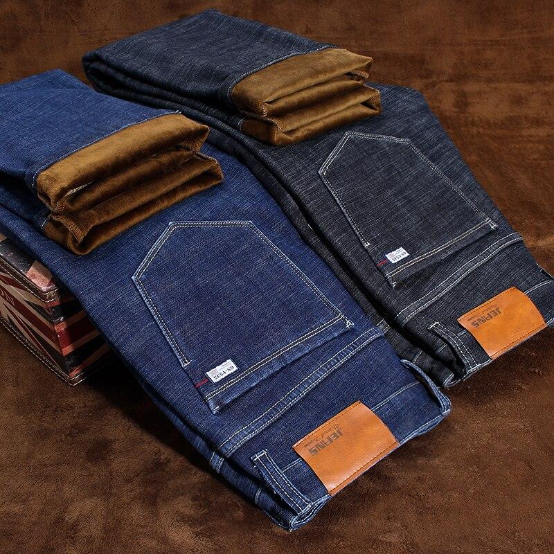 2019 Winter New Brand Men's Warm   Jeans   Casual Stretch Slim Denim Pants Male Big Size Men Trousers 40 42 44 46 Black Blue