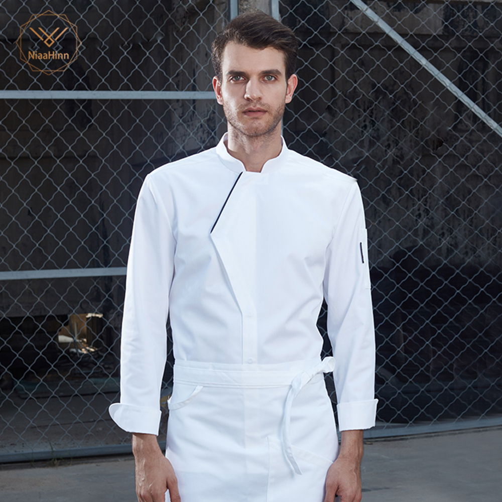New Black White Chef Jacket Uniforms Long Sleeve Hotel Cook Clothes Food Services Frock Coats Restaurant Uniforms Chef Shirts