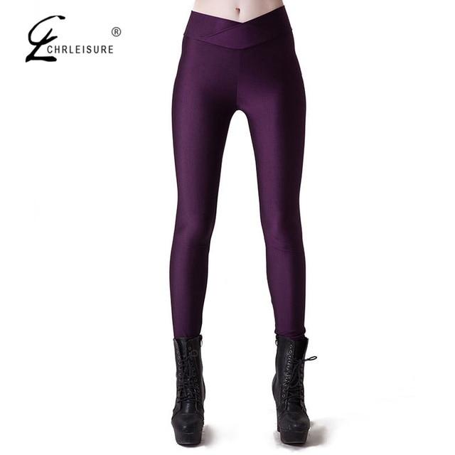 CHRLEISURE S-XL 9 Color  Women's Workout Leggings Candy Colors High Fluorescence V-Waist Stretch Spandex Leggings Women