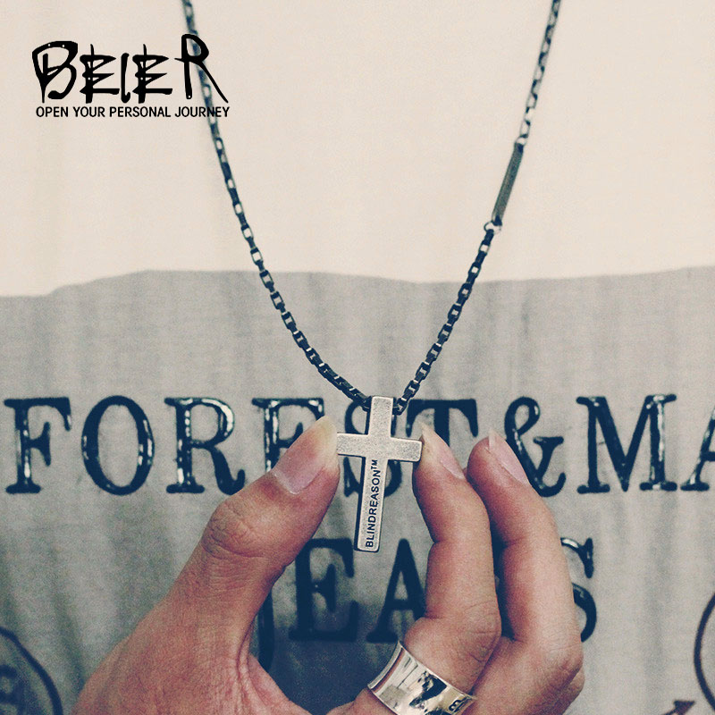 Beier 316L Stainless Steel Shangliushihui cross faith faith retro silver male and female couple fashion pendant necklace p009 gj303 rhinestones 316l stainless steel couple s ring black silver size 9 7 2 pcs