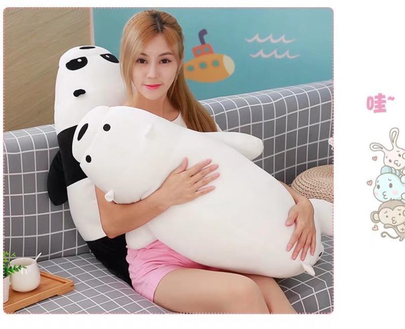Nouveau joli ours en peluche jouet doux couché ours blanc oreiller poupée cadeau environ 90 cm