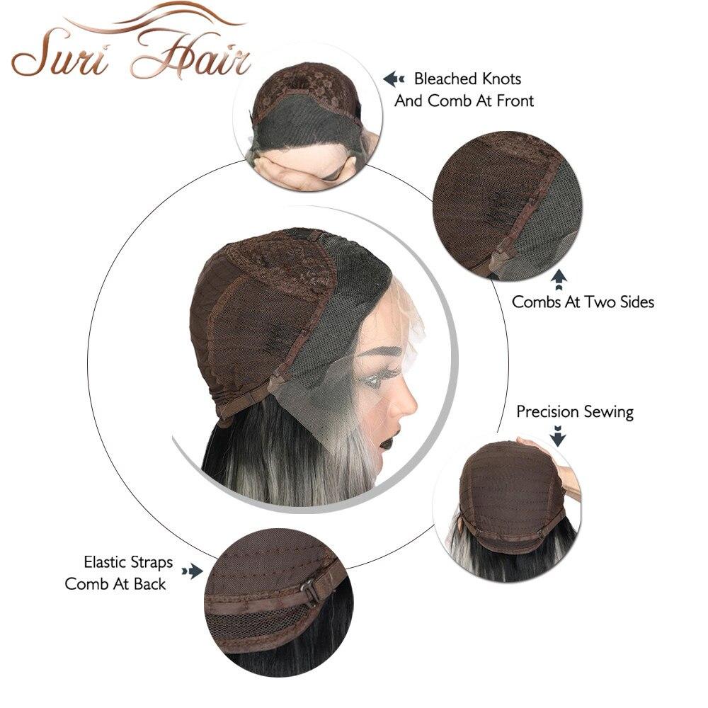 Suri Hair spets fram kinky lockigt syntetisk peruk för kvinnor Ombre - Syntetiskt hår - Foto 5