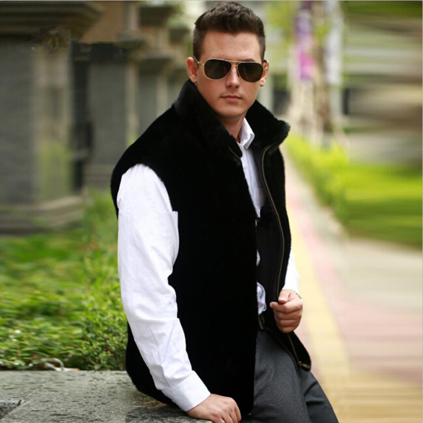 2018 New Men Winter Warm Faux Fur Vest Fashion Black Mandarin Collar