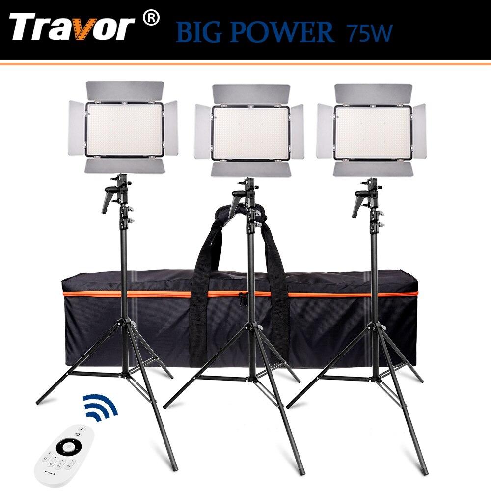 Travor TL-600A 2.4G Regulável Bi-color LED Luz de Vídeo Estúdio de Fotografia Kit de Iluminação Suave Luz Candeeiros de Pé Com tripé