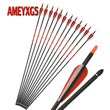 12pcs 31inch Archery 400 Spine Pure Carbon Arrow 100 grain Replaceable Broadhead For Bow And Arrows Shooting Hunting Accessories