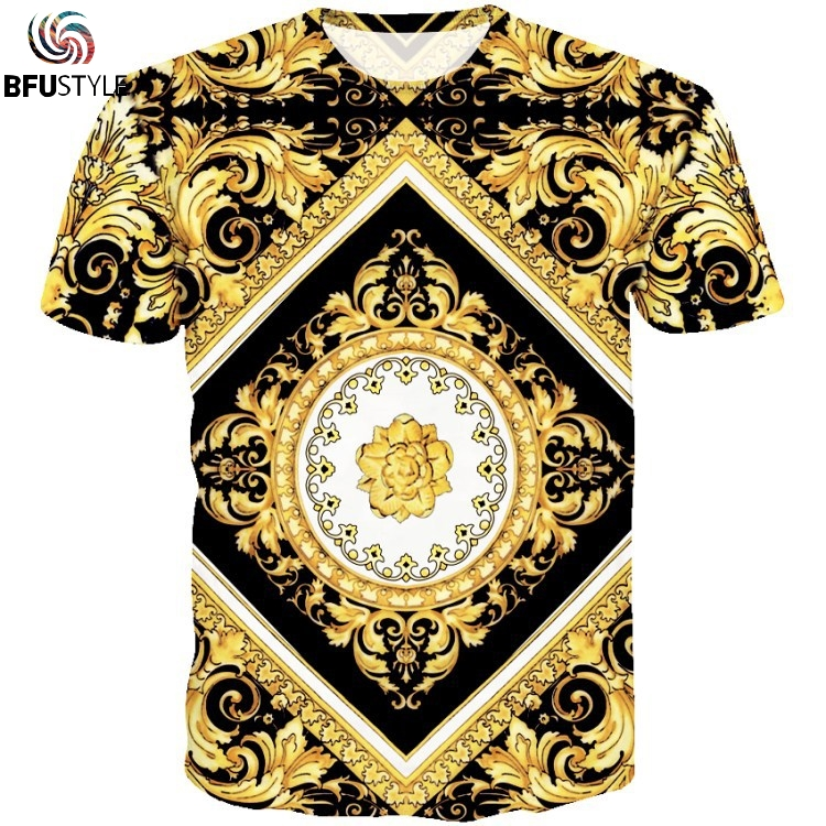2019 Summer Design Men Tee Shirts Gold Flower Sculpture Mens Tops Tshirt Personality Casual T-Shirt Wholesale