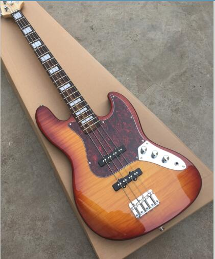 Guitare basse électrique 4 cordes, avec pickguard perle rouge, dessus érable flamme, couleur Sunburst Vintage, photos réelles