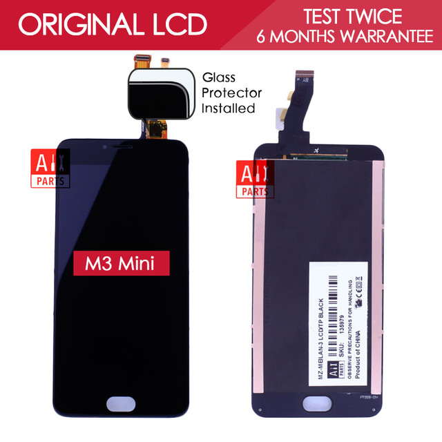 100% Tested Original 5 INCH Black 1280x720 Display For Meizu M3 Mini LCD with Touch Screen Digitizer Replacement Parts