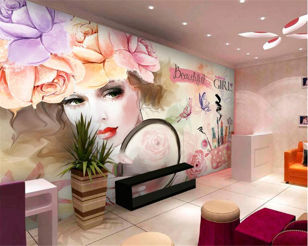 Beibehang High Fashion Decorative Wallpaper Watercolor Beauty Beauty Shop Nail New Tooling Background Papel De Parede 3d Tapety