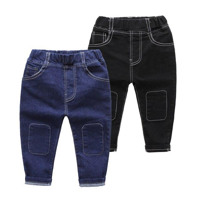 2017 New Fashion Spring Autumn Boys Blue Black Colour Jeans Baby Patch Pants Child Bottoms Children Solid Trousers