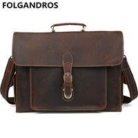 FOLGANDROS 2018 Vintage Briefcase Crazy Horse Leather Business Handbag Laptop Notebook Document Bag Men's Cowhide Shoulder Bag