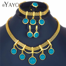 AYAYOO African Beads Jewelry Set Blue Fashion Crystal Jewell