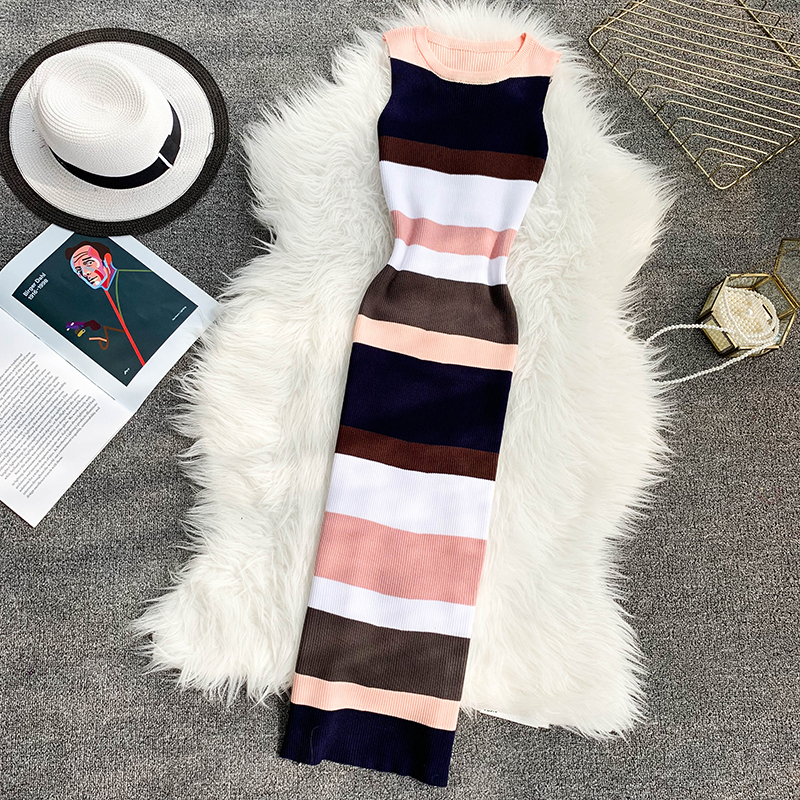 ALPHALMODA Horizontal Striped Hit Color Ladies Casual Summer Knit Tank Dress Pullovers Stretchy Slim Ladies Mid-calf Vestidos 12