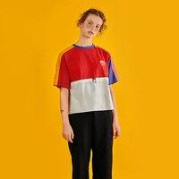 DAMOOSHU2016 Original Design Summer Women S O Neck Short Sleeved T Shirt Colored Stitching Harajuku Embroidery