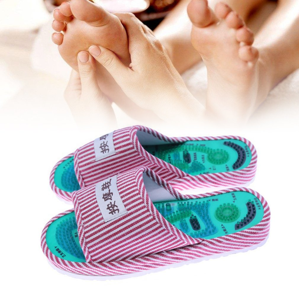 1 Pair Striped Pattern Reflexology Foot Acupoint Slipper Massage Promote Blood Circulation Relaxation Cotton Foot Care Shoes povihome foot massage reflexology pads toe pressure plate mat blood circulation shiatsu sports