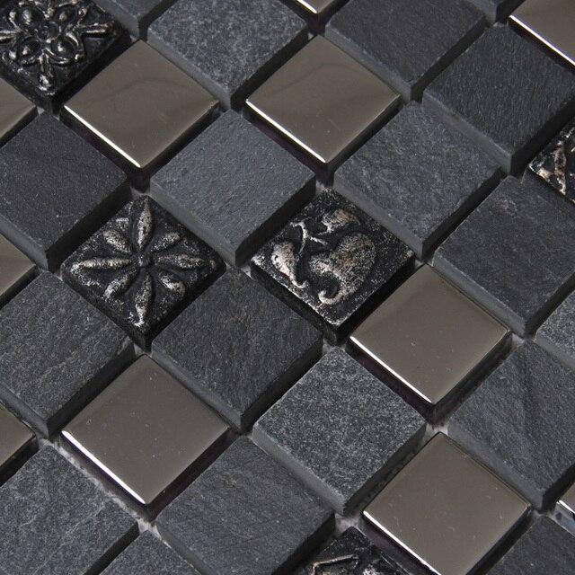 € 200.23 8% de réduction|Carré noir gris couleur pierre mixte métal  mosaïque carreaux pour cuisine dosseret carrelage salle de bain douche ...