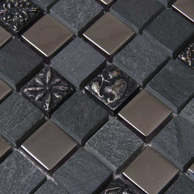 Platz Schwarz Grau Farbe Stein Gemischten Metall Mosaik Fliesen Für Küche  Backsplash Fliesen Badezimmer Dusche Mosaikfliesen U Bahn Mosaik Fliesen