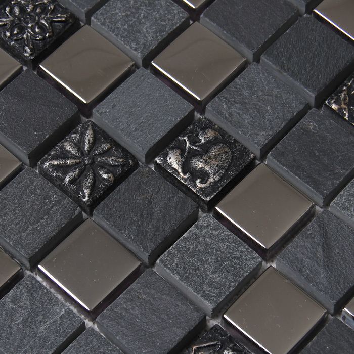 Square black gray color stone mixed metal mosaic tiles for - Piastrelle metalliche ...