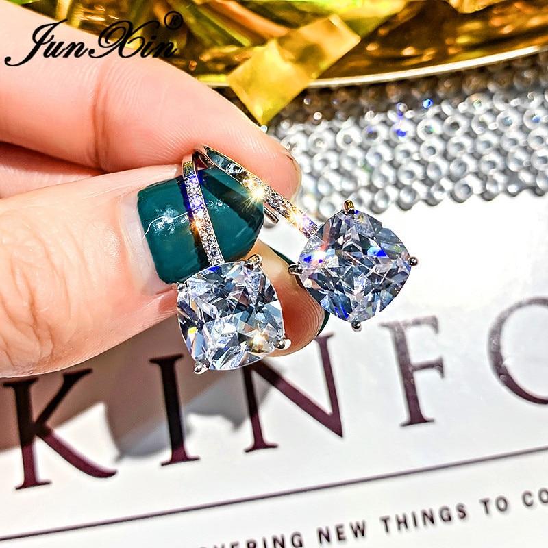 JUNXIN Cute Clear Zircon Square Stud Earrings For Women Silver Color White Crystal Double Wedding Earrings Simple Jewelry