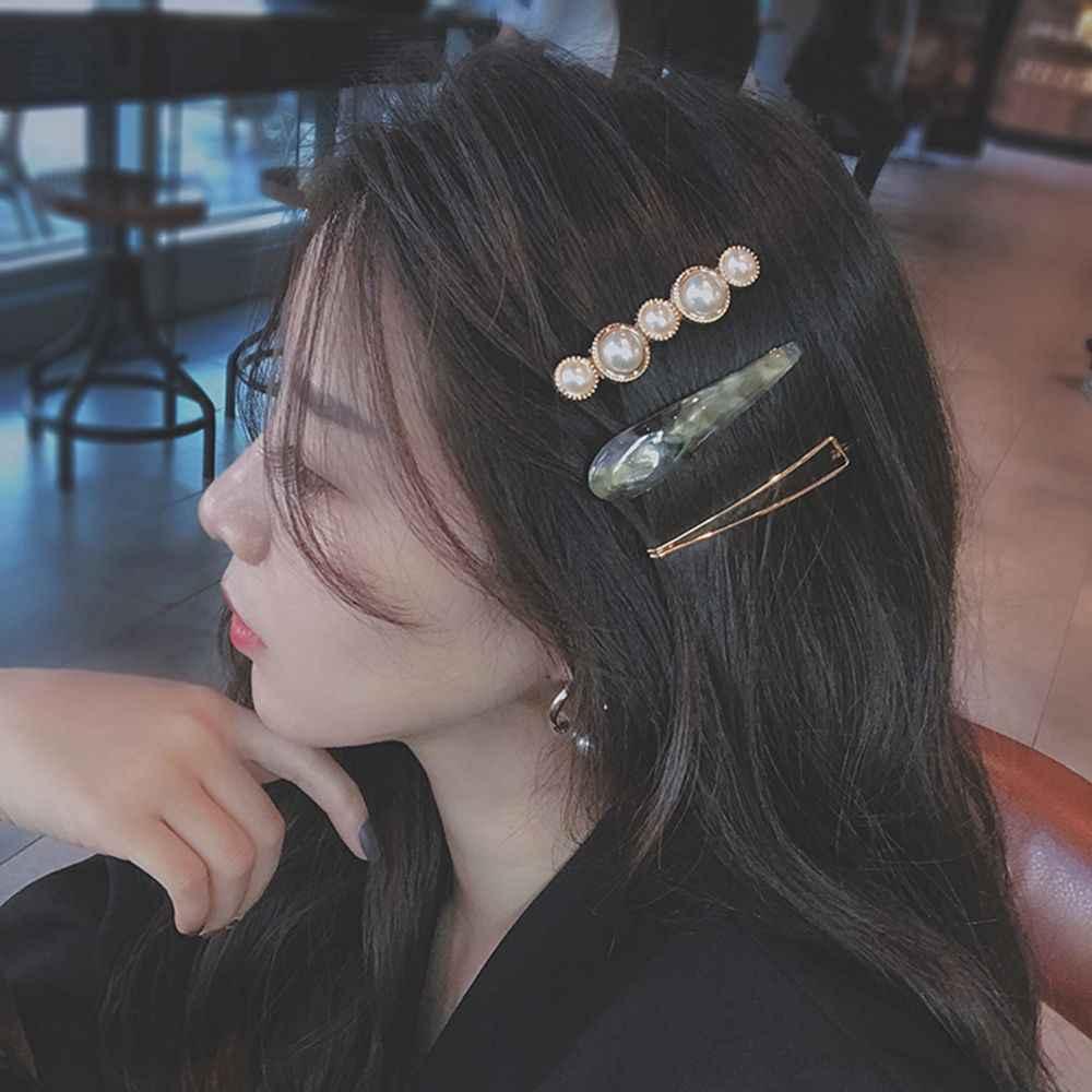 1 PC/3 Pcsdesign Korea Jepang Logam Emas Mutiara Tidak Teratur Asetat Jepit Rambut untuk Wanita Gadis Pesta Pernikahan Rambut aksesoris Perhiasan