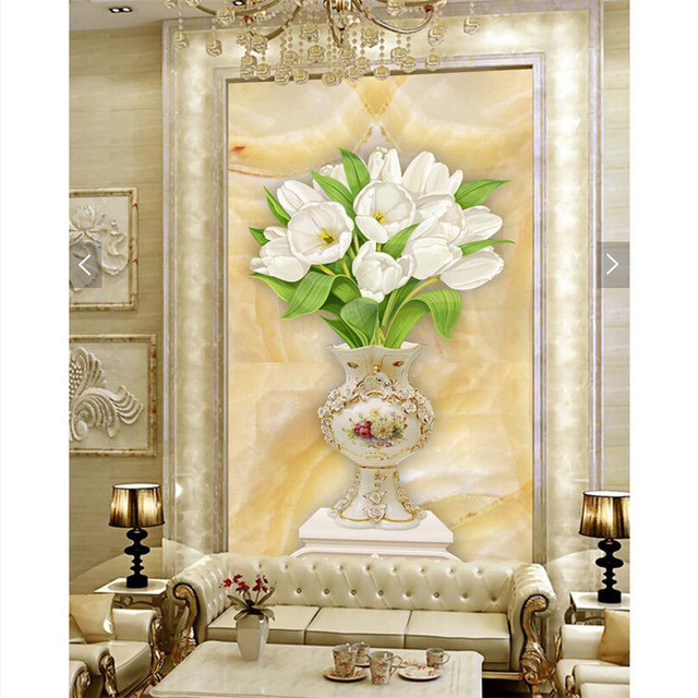 Home Decor wall paper 3d art mural HD European classic lily & vase ...