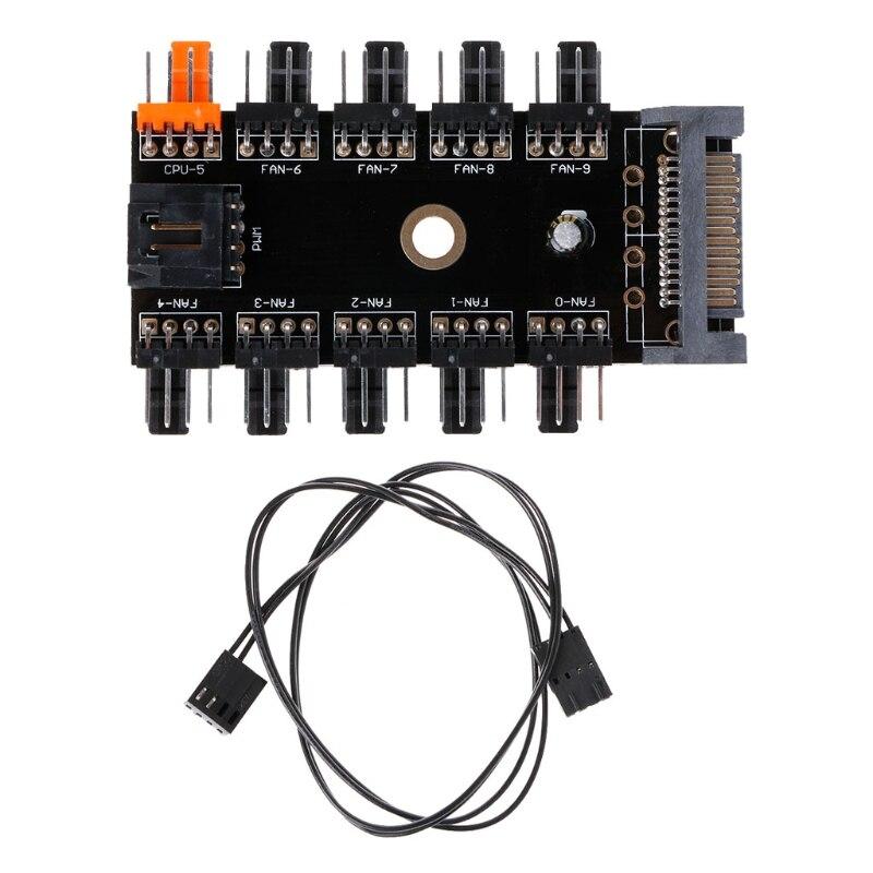 2018 High Quality SATA 1 To 10 Way Splitter PWM Cooling Fan Hub 4-Pin 12V Power Socket PCB Adapte FAN HUB Chassis Fan Line