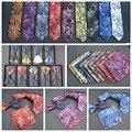 Men's Casual Luxury Polyester Silk 6cm Skinny Slim Neck Tie Set Grooms (Ties Hanky Bowtie) Paisley Necktie Handkerchief Bow Lot