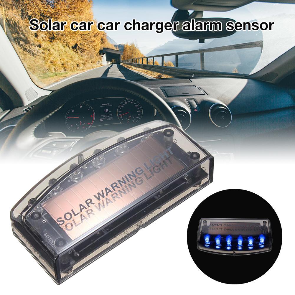 Car Offroad Interior Solar Power Blue 6LED Burglar Alarm Anti-theft Strobe Light