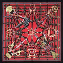 new Silk Scarf Womens Fashion Pentagram decoration Pattern 130 Square Twill Digital Print Shawl Headdress